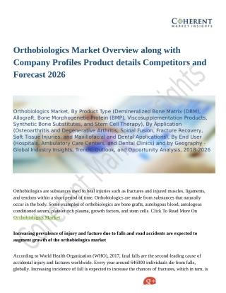 Orthobiologics Market Enhancement in Medical Sector 2018 to 2026