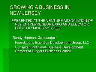 GROWING A BUSINESS IN  NEW JERSEY