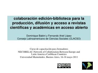 Curso de capacitación para formadores NECOBELAC-Network of Collaboration Between Europe and Latin America-Caribbean Cou