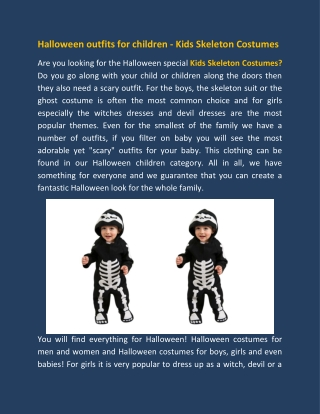 Halloween outfits for children - Kids Skeleton Costumes