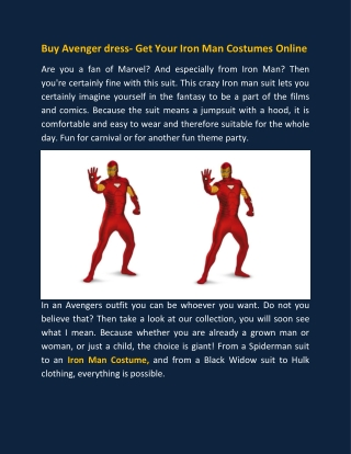 Buy Avenger dress- Get Your Iron Man Costumes Online
