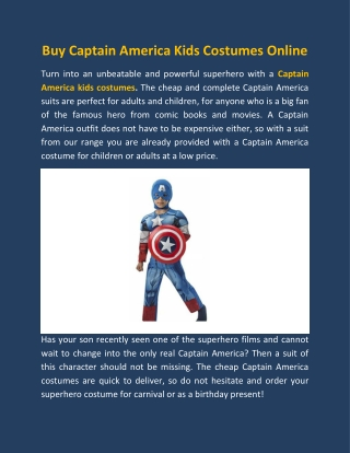 Buy Captain America Kids Costumes Online