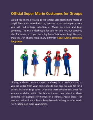 Official Super Mario Costumes for Groups