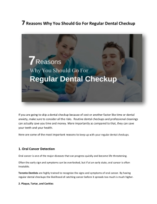 7 Reasons Why You Should Go For Regular Dental Checkup