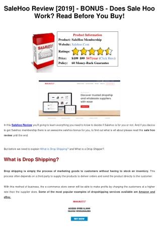 SaleHoo Review - BONUS - Does Sale Hoo Work? Read Before You Buy!
