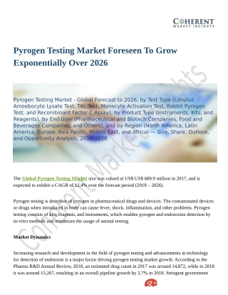 Pyrogen Testing Market to Reap Excessive Revenues by 2026