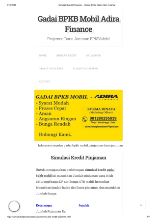 Simulasi Kredit Pinjaman Gadai BPKB Mobil Adira Finance