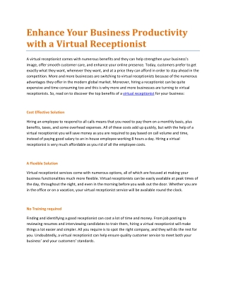 Enhance Your Business Productivity with a Virtual Receptionist