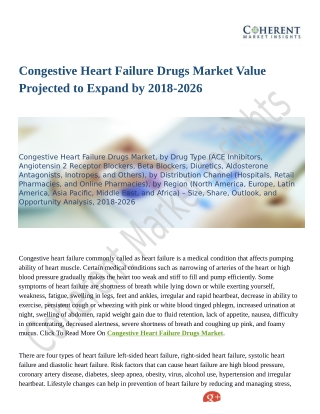 Congestive Heart Failure Drugs Market to Perceive Substantial Growth During 2018–2026