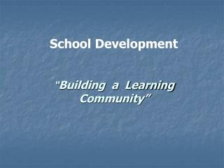 """ Building  a  Learning Community"""