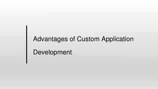 Advantages of Custom Application Development