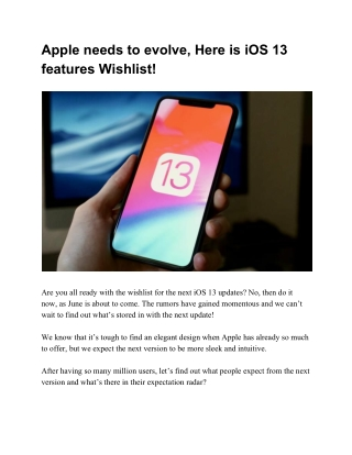 Apple needs to evolve, Here is iOS 13 features Wishlist!
