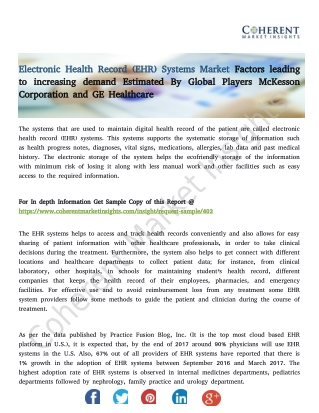 Electronic Health Record (EHR) Systems Market – Global Industry Insights, Trends, Outlook, and Opportunity Analysis, 201