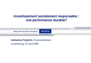 Investissement socialement responsable :  une performance durable?