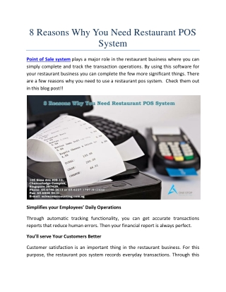 8 Reasons Why You Need Restaurant POS System