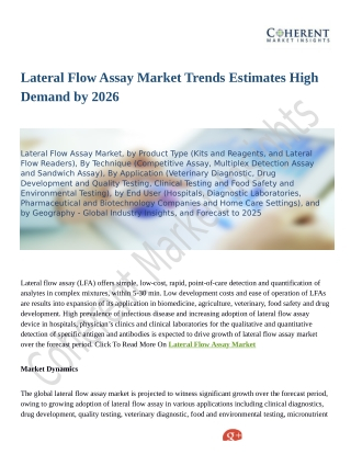 Lateral Flow Assay Market Outlook and Opportunities in Grooming Regions 2026