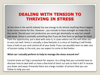 DEALING WITH TENSION TO THRIVING IN STRESS