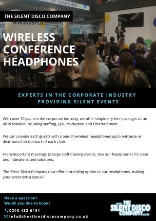 Wireless conference headphones