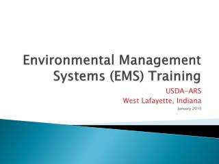 Environmental Management Systems (EMS) Training