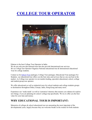 Educational Tour Operator   school tour packages   college tour