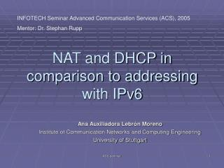 NAT and DHCP in comparison to addressing with IPv6