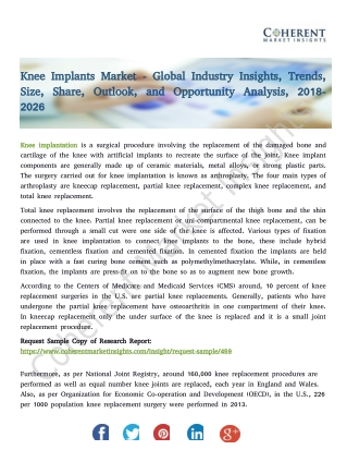 Knee Implants Market - Size, Share, Outlook, and Opportunity Analysis, 2018-2026