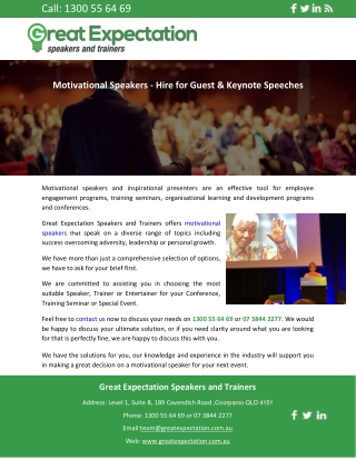 Motivational Speakers - Hire for Guest & Keynote Speeches