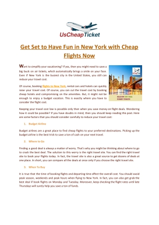 Get Set to Have Fun in New York with Cheap Flights Now