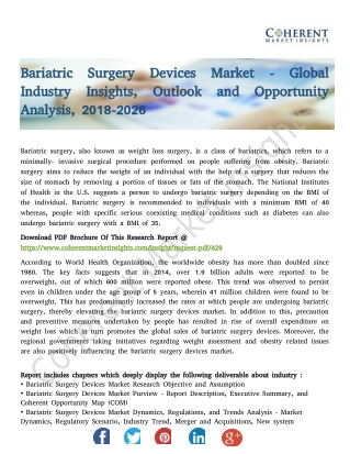 Bariatric Surgery Devices Market - Global Industry Insights, Outlook and Opportunity Analysis, 2018-2026