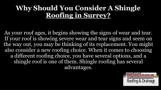 Why Should You Consider A Shingle Roofing Surrey?