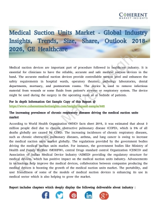 Medical Suction Units Market - Global Industry Insights, Trends, Size, Share, Outlook 2018-2026