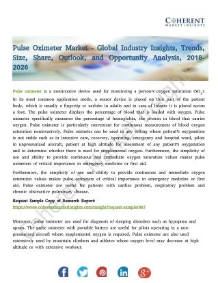Pulse Oximeter Market - Trends, Size, Share, Outlook, 2018-2026