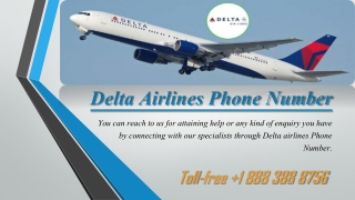 Dial Delta Airlines Phone Number to the Following Services