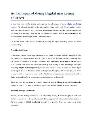 Advantages of doing digital marketing courses