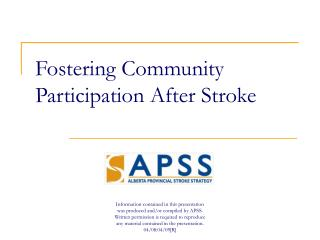 Fostering Community Participation After Stroke