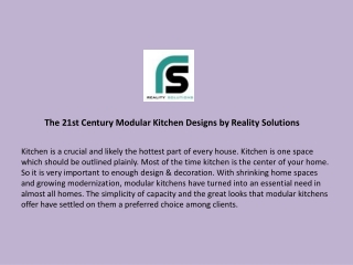 The 21st Century Modular Kitchen Designs by Reality Solutions