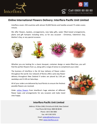 Online International Flowers Delivery: Interflora Pacific Unit Limited