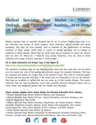 Medical Specialty Bags Market – Trends, Outlook, and Opportunity Analysis, 2018-2026