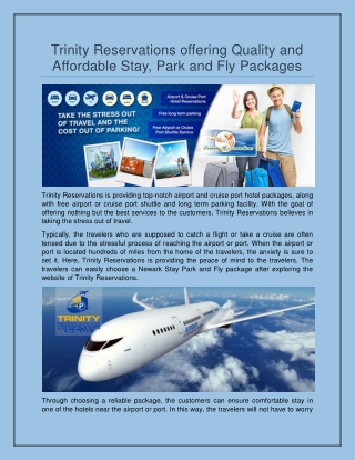 Trinity Reservations offering Quality and Affordable Stay,Park and Fly Packages