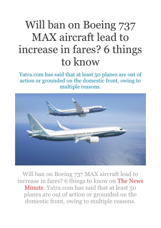 Will Ban on Boeing 737 MAX Aircraft Lead to Increase in Fares! 6 Things to Know
