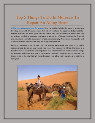 Top 5 Things to Do in Morocco to Repair an Ailing Heart