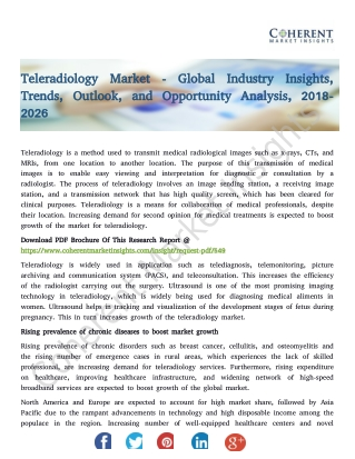 Teleradiology Market - Global Industry Insights, Trends, Outlook, and Opportunity Analysis, 2018-2026