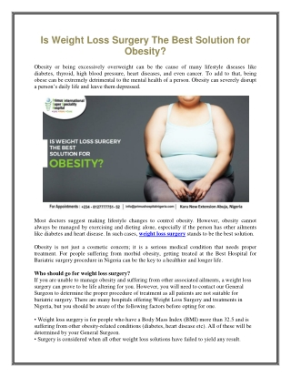 Is Weight Loss Surgery The Best Solution for Obesity?