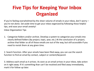 Five tips for keeping your inbox organized