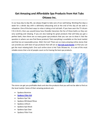 Get Amazing and Affordable Spa Products from Hot Tubs Ottawa Inc.