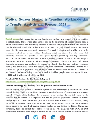 Medical Sensors Market - Global Industry Insights, Trends, Outlook, and Opportunity Analysis, 2018-2026