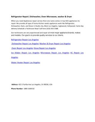 Refrigerator Repair| Dishwasher, Oven Microwave, washer & Dryer