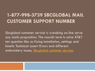 1-877-998-3739 Sbcglobal Mail Customer Support Number