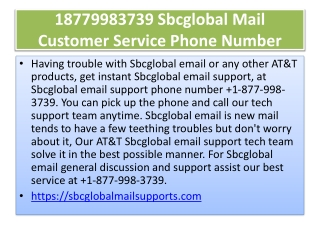 18779983739 Sbcglobal Mail Customer Service Phone Number