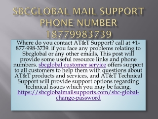 Sbcglobal Mail Support Phone Number 18779983739